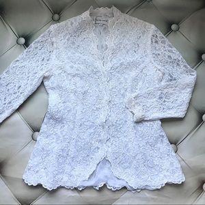 Victor Costa white lace bridal jacket cardigan 8